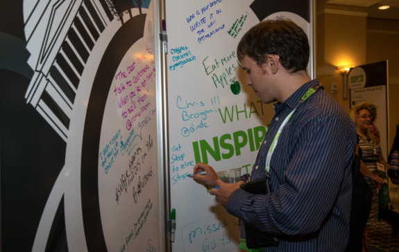 What inspired you today? That's all we asked and both sides of this mural were filled with attendee quotes.